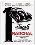 Marchal Rallye de Mote-Carlo Sinca 8 - Publicite Automobile de 1939